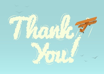Biplane with word Thank You. Vector illustration.