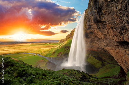 Foto op Canvas Scandinavië Waterfall, Iceland - Seljalandsfoss