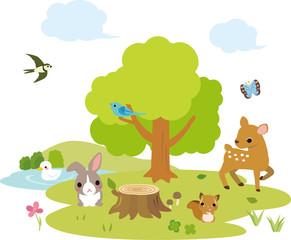 動物たちがいる森の風景