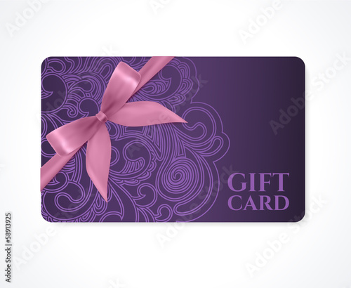 Gift card, discount card, coupon, ticket. Violet floral pattern