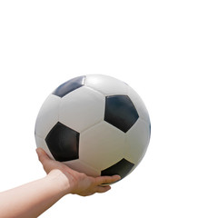 Classic soccer ball on hand with white background.