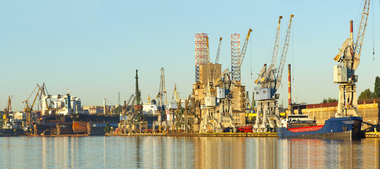 Panorama of the harbor and shipyard in Gdansk, Poland.