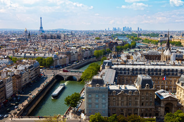 View from Cathedral Notre Dame on river Seine in Paris, France.