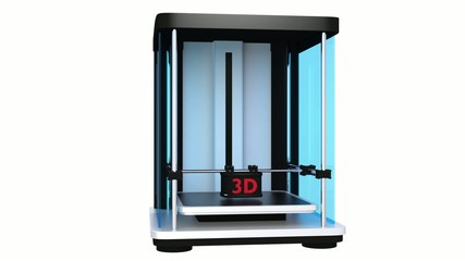 3D printer printing robot model
