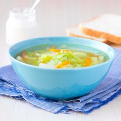 Vegetable soup with cabbage, kohlrabi, carrots, healthy vegan