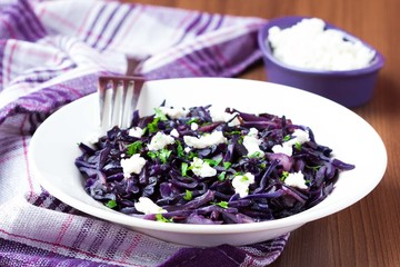 Stewed red cabbage with feta cheese, cilantro, healthy dish