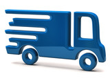 Illustration of fast delivery blue truck isolated on white