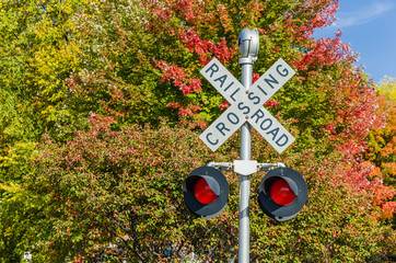Railway Crossing Signal and Autumn Colours