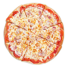 Italian pizza with ham, tomato and cheese isolated on white