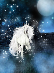 magical background with white unicorn
