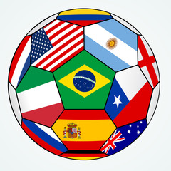 vector soccer with various flags