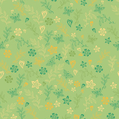 Green cute spring flower seamless
