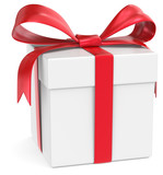 Gift Box. Classic Gift Box. White with red ribbons.