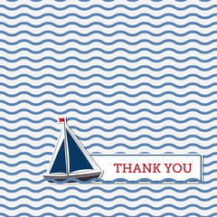 Thank you greeting card with boat