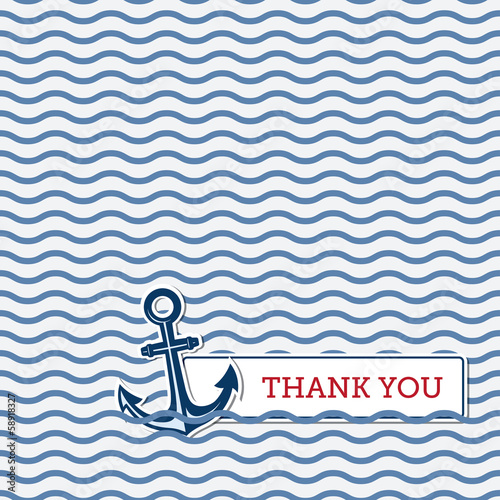 Thank you greeting card with anchor