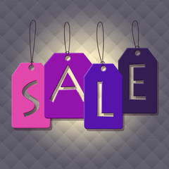 Colorful sale tags hanging on a square background