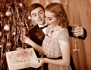 Couple on Christmas party.  Black and white retro.