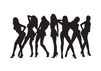 Sexy girls silhouette. Vector.