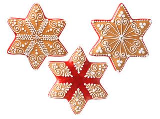 Three beautiful christmas cookies