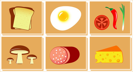 isolated set of food for breakfast or fast food