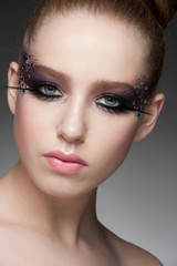 Makeup with rhinestones