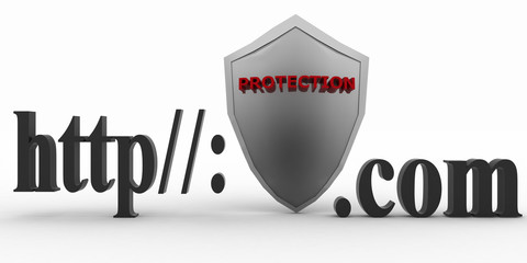 Shield between http and dot com.