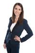 Geschäftsfrau lachend - Bürokleidung - Blazer und Hose isoliert