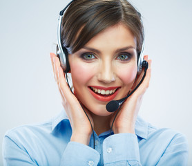 Close Up Woman call center operator. Smiling business woman por