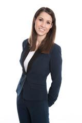 Geschäftsfrau isoliert im Hosenanzug blau