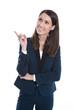 Frau isoliert im Business-Look zeigt mit dem Finger