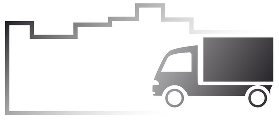 isolated delivery symbol with city and lorry silhouette