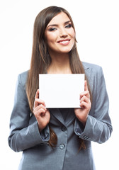 Young smiling business woman hold board, white background  port