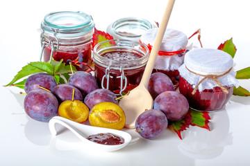 Fruits and jam jars