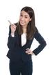 Witzige Geschäftsfrau isoliert zeigt mit dem Finger auf etwas,
