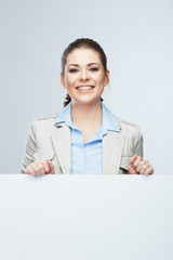 Business woman portrait, white banner background.