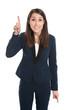 Junge Frau geschäftlich erhebt den Zeigefinger - Idee, isoliert