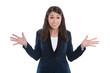 Frau unsicher und fragender Blick - Geschäftsfrau isoliert