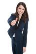 Frau isoliert geschäftlich Business mit Daumen hoch.