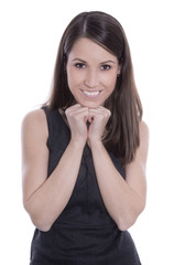 Schöne jung Frau isoliert und lachend in schwarz weiß