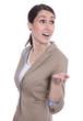 Business Frau überrascht und erstaunt - isoliert auf Weiß