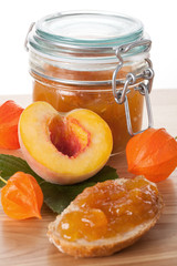 Peach jam in the jar