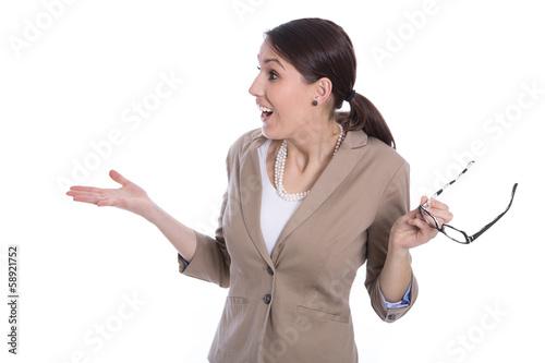 Frau geschäftlich isoliert in Blazer posive Überraschung