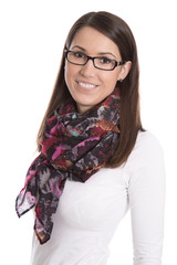 Portrait junge lachende Frau mit Brille