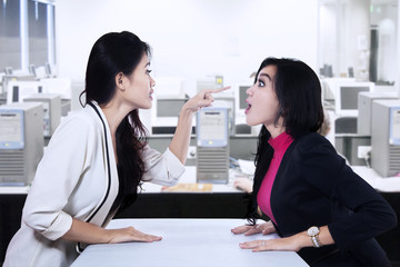 Businesswomen fighting