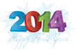 2014 Happy New Year with Snowflakes Illustration