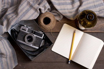 Vintage Camera and Notebook