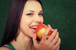 women playing with apple
