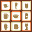 Set of 9 vintage icons of different coffee cups. Eps10