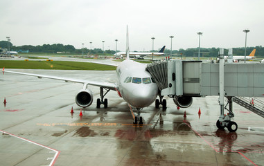 Parked aircraft on Singapore airport
