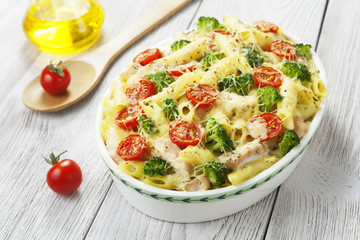 Casserole pasta with chicken and broccoli